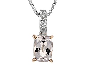Pink Morganite Sterling Silver Pendant With Chain .76ctw
