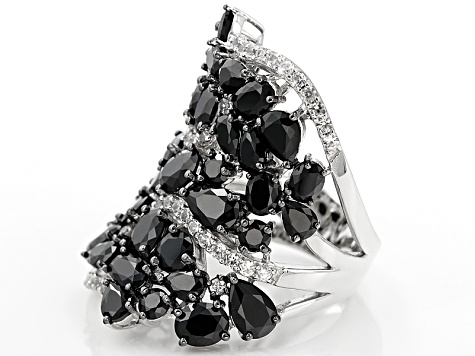 Black Spinel Sterling Silver Ring 10.88ctw