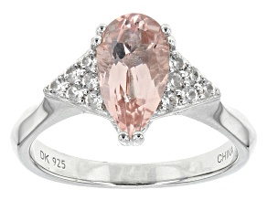 Pink Morganite Sterling Silver Ring 1.48ctw