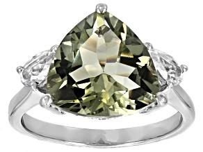 Green Prasiolite Sterling Silver Ring 5.10ctw