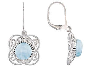 Blue Larimar Sterling Silver Solitaire Earrings