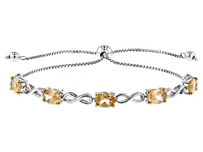 Golden Hessonite Sterling Silver Sliding Adjustable Bracelet 3.82ctw