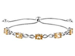 Golden Hessonite Sterling Silver Sliding Adjustable Bracelet 3.82ctw
