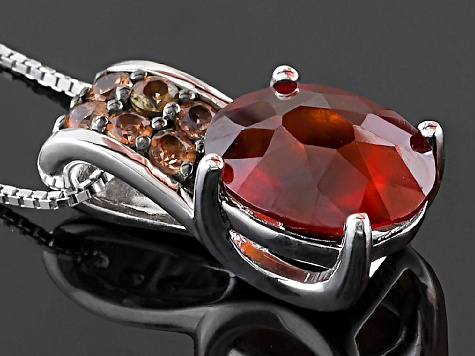 Red Hessonite Garnet Sterling Silver Pendant With Chain 5.00ctw