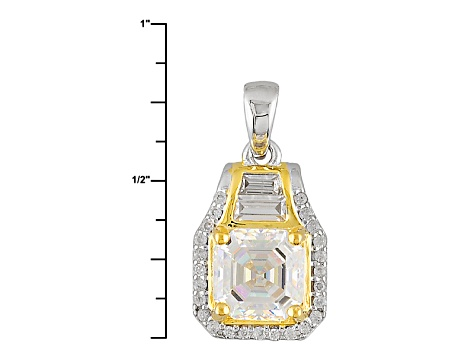 White Fabulite Strontium Titanate And White Zircon Two-Tone Silver Pendant With Chain 2.53ctw