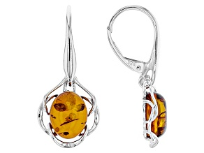 Orange Polish Amber Sterling Silver Solitaire Dangle Earrings