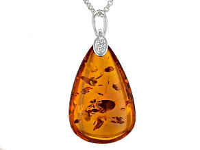 Orange Polish Amber Sterling Silver Solitaire Pendant With Chain
