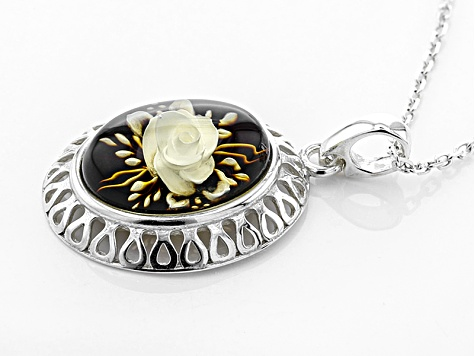 Brown Polish intaglio Amber Sterling Silver Flower Solitaire Pendant With Chain