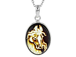 Brown Polish intaglio Amber Sterling Silver Horse Pendant With Chain