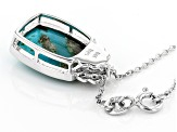 Blue Turquoise Sterling Silver Pendant With Chain .08ctw