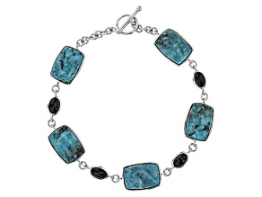 Blue Turquoise Sterling Silver Toggle Bracelet 1.50ctw