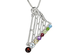 Multi-Gem Silver Harp Pin-Brooch/Pendant With Chain .71ctw