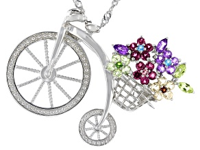 Multi-Gem Sterling Silver Bicycle Brooch/Pendant With Chain 1.38ctw