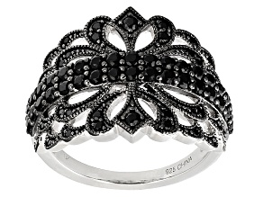 Black Spinel Sterling Silver Ring 1.14ctw