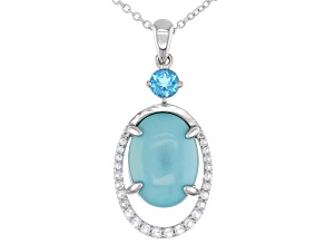Blue Sleeping Beauty Turquoise Rhodium Over Sterling Silver Pendant With Chain .90ctw