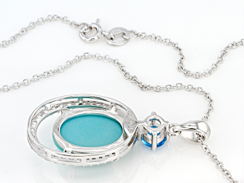 Blue Sleeping Beauty Turquoise Sterling Silver Pendant With Chain .90ctw