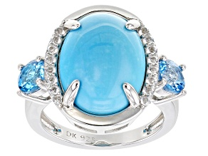 Blue Sleeping Beauty Turquoise Sterling Silver Ring 1.00ctw