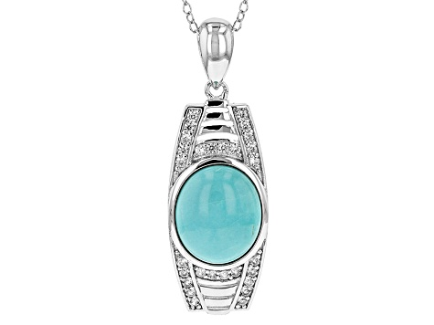Blue Turquoise Sterling Silver Pendant With Chain .34ctw