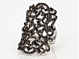 Black Spinel Sterling Silver Ring 1.52ctw