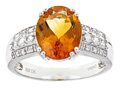 Orange Madeira Citrine Sterling Silver Ring 3.27ctw