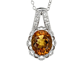 Orange Madeira Citrine Sterling Silver Pendant With Chain 3.31ctw