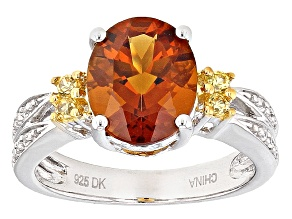 Orange Madeira Citrine Sterling Silver Ring 2.19ctw
