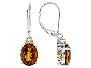 Orange Madeira Citrine Sterling Silver Dangle Earrings 4.10ctw