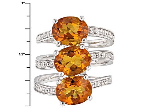 Orange Madeira Citrine Sterling Silver Ring 4.85ctw
