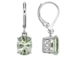 Green Prasiolite Rhodium Over Sterling Silver Earrings 3.24ctw
