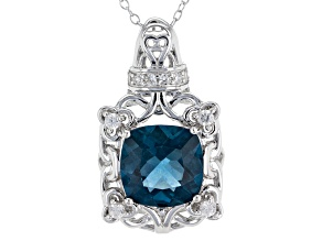 Blue Fluorite Sterling Silver Pendant With Chain 4.90ctw