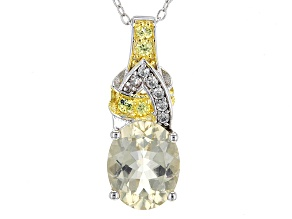 Yellow Labradorite Sterling Silver Pendant With Chain 3.08ctw