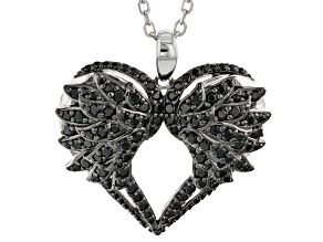 Black Spinel Sterling Silver Heart Pendant With Chain 1.42ctw