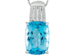 Sky Blue Topaz Sterling Silver Pendant With Chain 15.23ctw