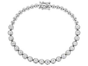 White Fabulite Strontium Titanate Sterling Silver Bracelet 6.96ctw