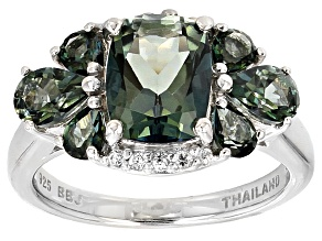 Emerald Envy™ Mystic Topaz® Rhodium Over Sterling Silver Ring 3.71ctw