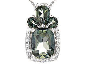 Emerald Envy™ Mystic Topaz® Rhodium Over Silver Pendant With Chain 3.00ctw