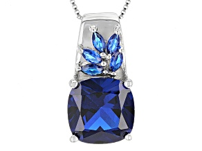 Blue Lab Created Spinel Sterling Silver Pendant With Chain 6.18ctw