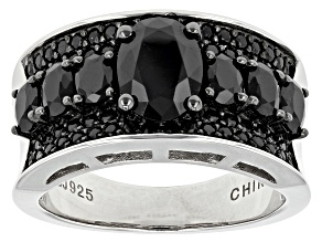 Black Spinel Sterling Silver Ring 2.52ctw
