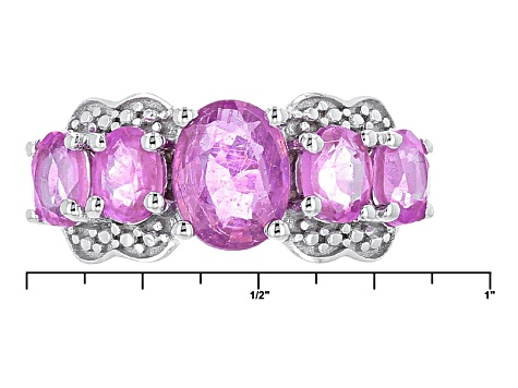 Pink Mahaleo Sapphire Sterling Silver Ring 3.92ctw