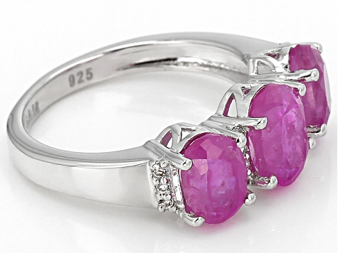 Pink Mahaleo Sapphire Sterling Silver Ring 4.05ctw