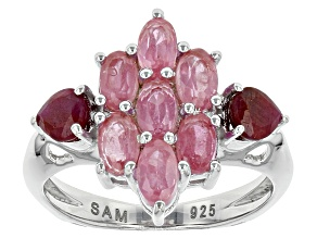 Pink Mahaleo Sapphire Sterling Silver Ring 2.90ctw