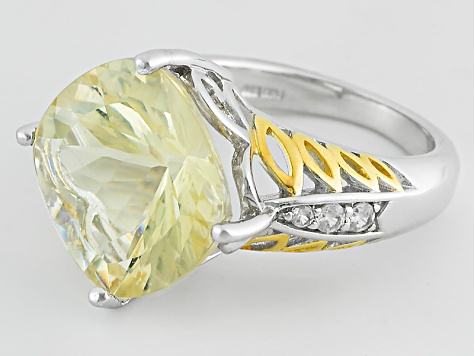 Yellow Labradorite Two-Tone Sterling Silver Ring 8.47ctw
