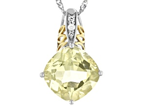 Yellow Labradorite Rhodium Over Sterling Silver Two-Tone Pendant With Chain 8.38ctw
