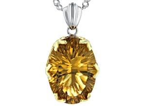 Brown Champagne Quartz Sterling Silver Pendant With Chain 10.44ct