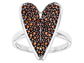 Red Garnet Sterling Silver Heart Ring 1.15ctw