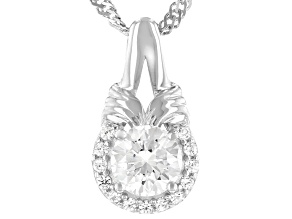 White Fabulite Strontium Titanate And White Zircon Silver Pendant With Chain 1.26ctw