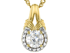 Fabulite Strontium Titanate And White Zircon 18k gold over sterling silver pendant 1.26ctw