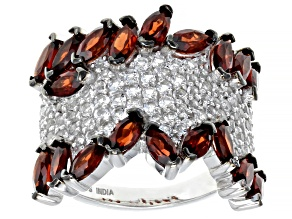 Red Garnet Sterling Silver Ring 5.90ctw