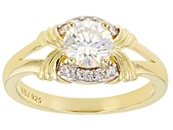 Picture of Fabulite Strontium Titanate And White Zircon 18k yellow gold over sterling silver ring 1.37ctw