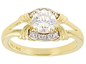 Fabulite Strontium Titanate And White Zircon 18k yellow gold over sterling silver ring 1.37ctw